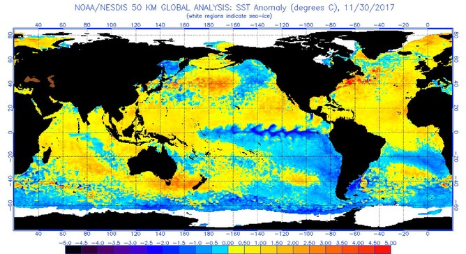 Sea surface temperature anomaly chart for 30 November shows temperatures 2-3 degrees above normal