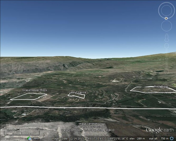 The world's southernmost vineyards - These vineyards on the Earnsclugh Rim, Alexandra, Central Otago, are the southernmost in the world and are situated south of latitude 45.25 degrees south.  (The latitude line is marked)