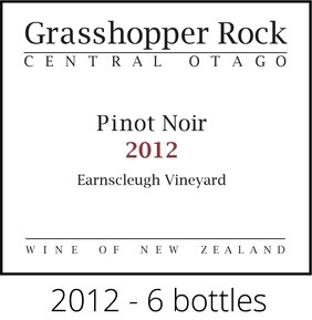 Pinot Noir - 2012 - 6 bottles. Free NZ delivery